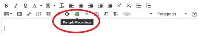 Panopto Recordings icon on the HTML editor toolbar