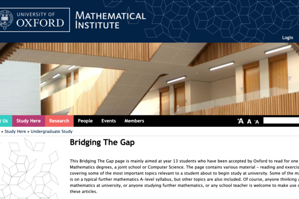 homepage of the bridging the gap programme with materials for students who are about to start their degree.