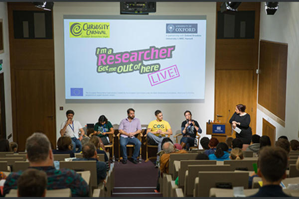 Oxford researchers answer questions sent in by students at the on- and offline event 'I'm a Researcher, Get Me Out of Here'. Photo by Ian Wallman.