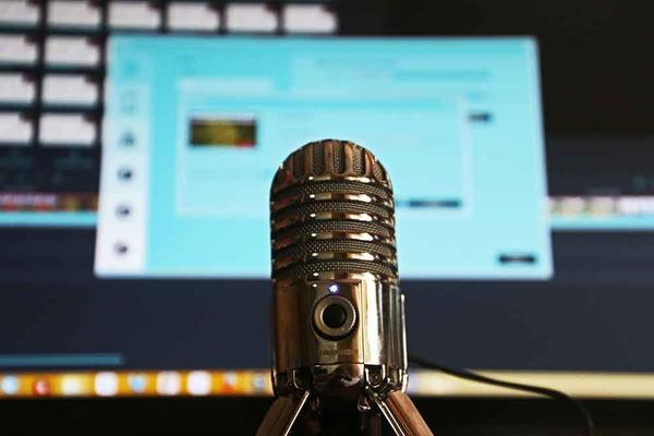 Microphone in front of a computer