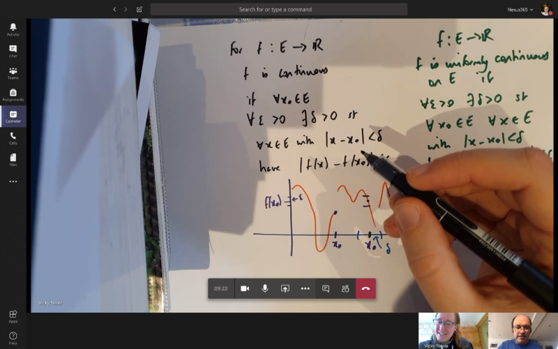 Screenshot of a mobile device being used to capture a problem-solving activity during a maths tutorial